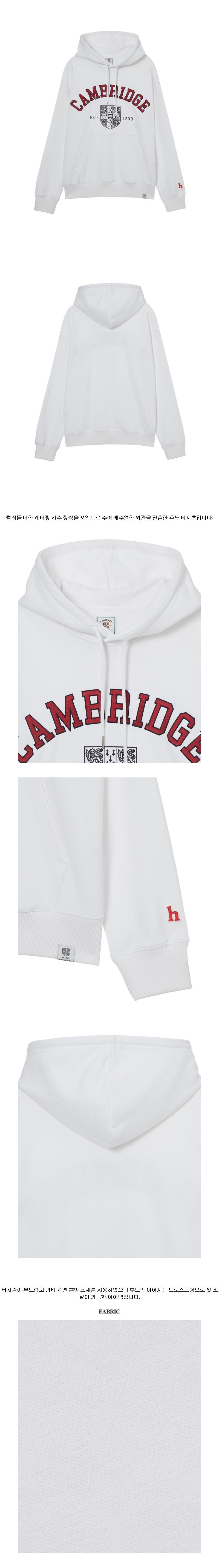 헤지스(HAZZYS) [HIS X CAMBRIDGE]화이트 레터링 후드 티셔츠 HZTS1B854WT