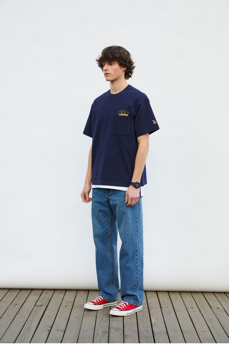 헤지스(HAZZYS) [HIS X CAMBRIDGE]네이비 스몰로고 반팔 티셔츠