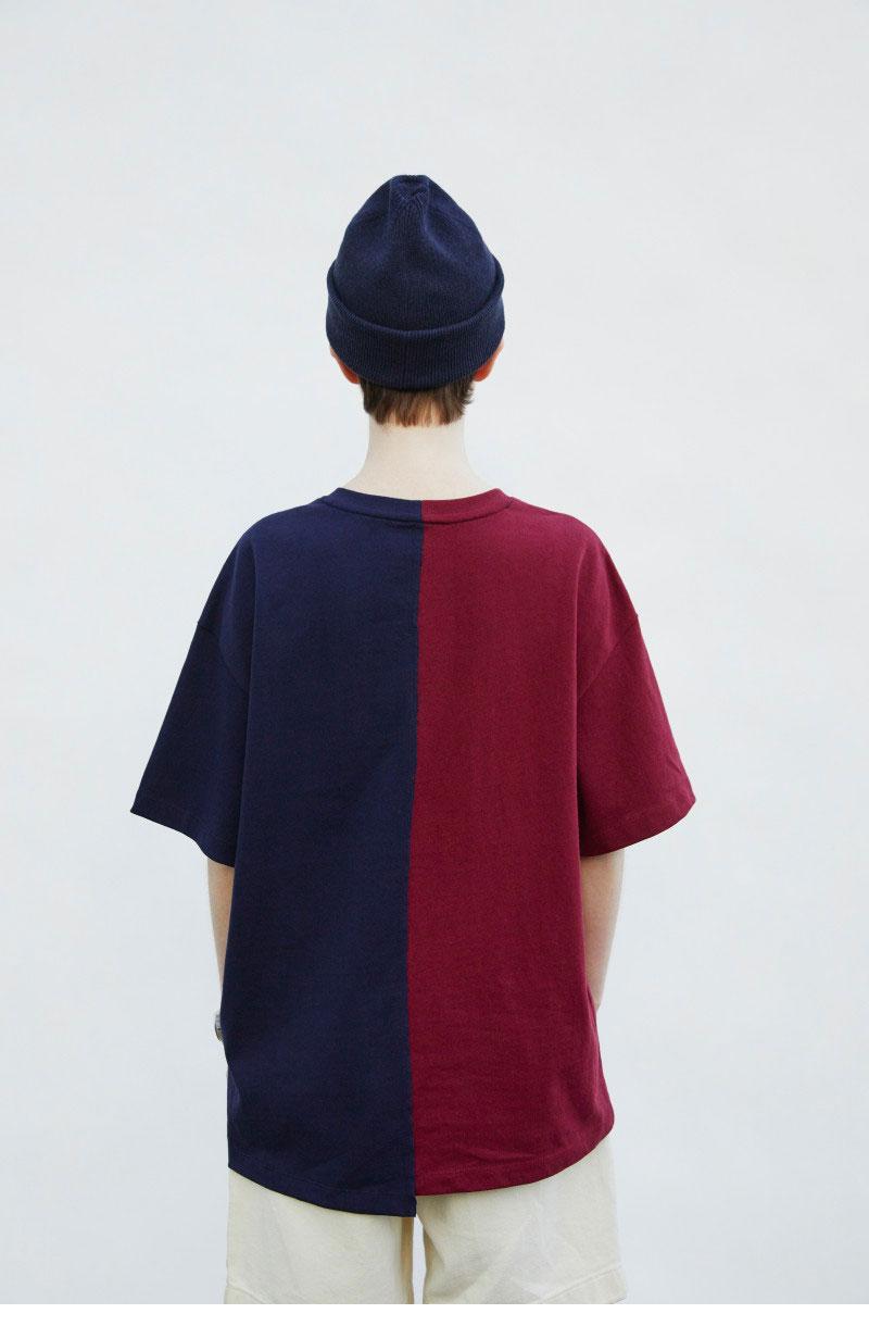 헤지스(HAZZYS) [HIS X CAMBRIDGE]네이비 와인 레터링 반팔 티셔츠