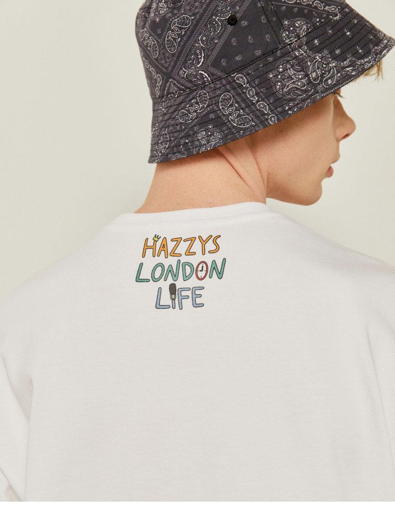 헤지스(HAZZYS) [HAZZYS x 전황일] 화이트 프린트배색 면 반팔티셔츠 HZTS1B952WT